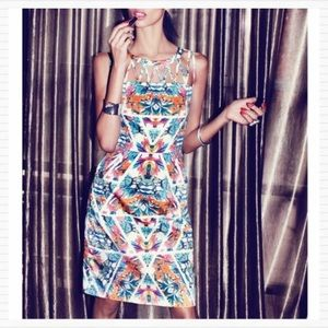 Tropical Floral Caged Sheath Dress ADRIANNA PAPELL